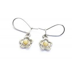 Boucles d'oreilles ambre blanc et argent 925 en forme de fleur