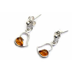 Boucles d'oreilles ambre cognac et argent 925 en forme de coeur