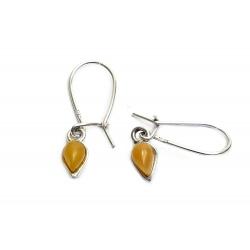 Boucles d'oreilles ambre jaune et argent 925