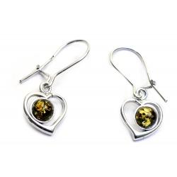 Boucles d'oreilles ambre vert et argent 925 en forme de coeur