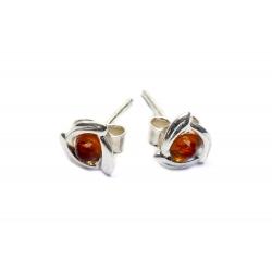 Boucles d'oreilles ambre miel et argent 925
