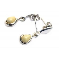 Boucles d'oreilles ambre blanc et argent 925