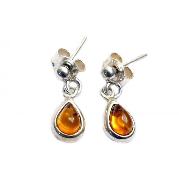 Boucles d'oreilles ambre cognac et argent 925