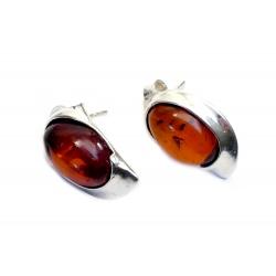 Boucles d'oreilles ambre cerise et argent 925