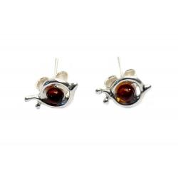 Boucles d'oreilles ambre cognac et argent 925 en forme d'escargots