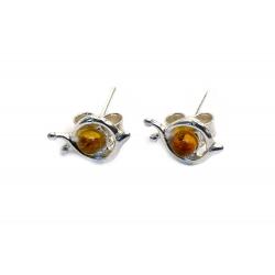 Boucles d'oreilles ambre jaune et argent 925 en forme d'escargots