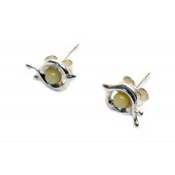 Boucles d'oreilles ambre blanc et argent 925 en forme d'escargots