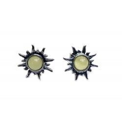 Boucles d'oreilles ambre blanc et argent 925 en forme de soleil