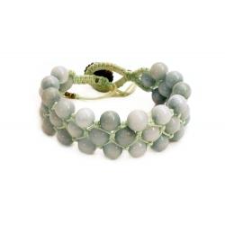 Bracelet macramé avec agate gris