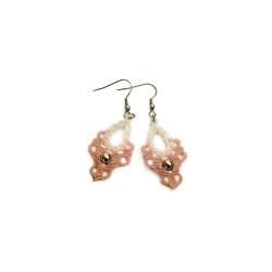 Boucles d'oreilles macramé Blanc et Rose