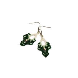 Boucles d'oreilles macramé Blanc et Vert