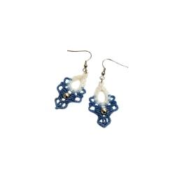 Boucles d'oreilles macramé Blanc et Bleu