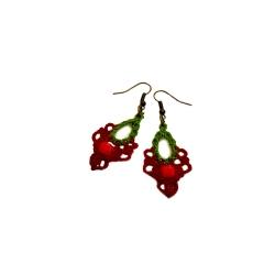 Boucles d'oreilles macramé Vert et Rouge