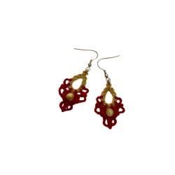Boucles d'oreilles macramé Beige et Rouge