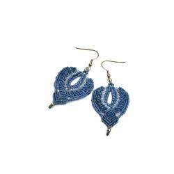 Boucles d'oreilles macramé Bleu