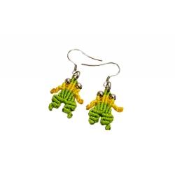 Boucles d'oreilles macramé jaune&vert grenouilles
