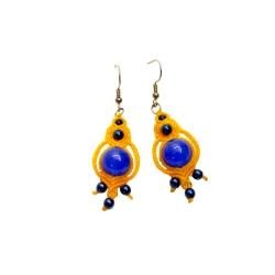 Boucles d'oreilles macramé jaune&bleu