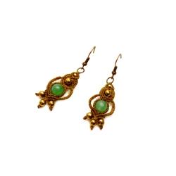 Boucles d'oreilles macramé marron&vert