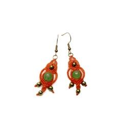 Boucles d'oreilles macramé orange&vert