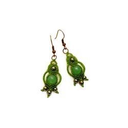 Boucles d'oreilles macramé vert