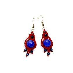 Boucles d'oreilles macramé rouge&bleu