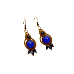Boucles d'oreilles macramé marron&bleu