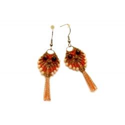 Boucles d'oreilles en macramé en forme de hibou orange&café