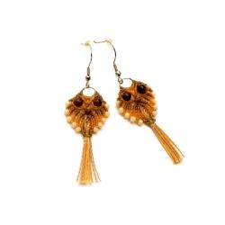 Boucles d'oreilles en macramé en forme de hibou orange clair&café
