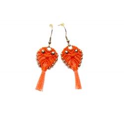 Boucles d'oreilles en macramé en forme de hibou orange&neon