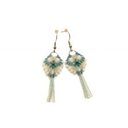 Boucles d'oreilles en macramé en forme de hibou bleu&blanc