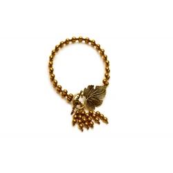 """Bracelet macramé hématite """"Feuille de vigne"""" en couleur de l'or"""