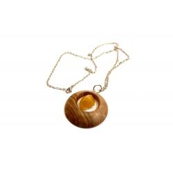 Collier en bois et ambre naturel