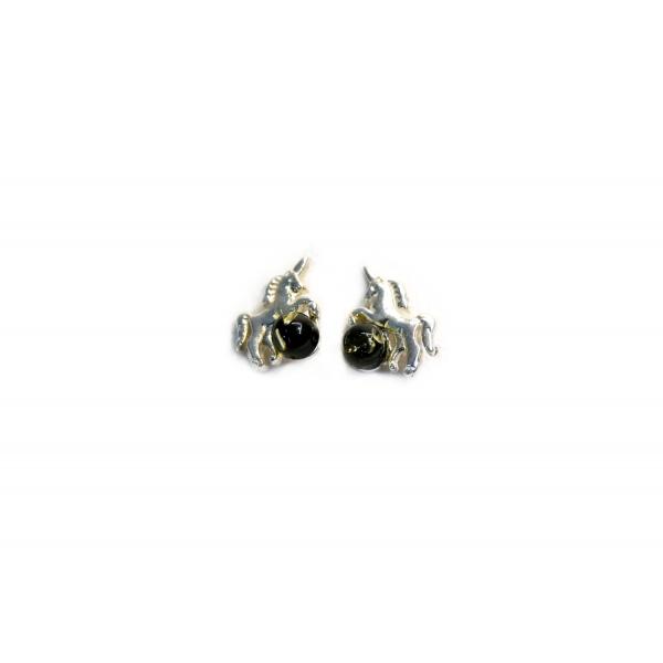 Boucles d'oreilles ambre cognac et argent 925 en forme de licorne