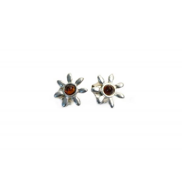Boucles d'oreilles ambre cognac et argent 925 en forme de fleur