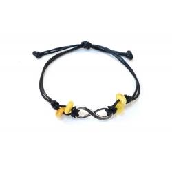 Bracelet Infinity, en Ambre et cuir