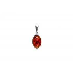Pendentif ambre cognac et argent 925