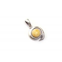 Pendentif ambre blanc et argent 925
