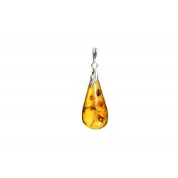 Pendentif ambre miel et argent 925