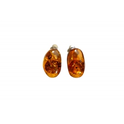 Boucles d'oreilles Clips ambre cognac et argent 925