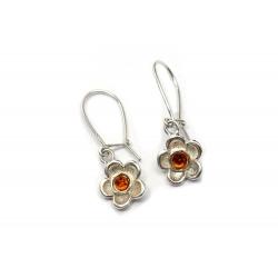 Boucles d'oreilles ambre miel et argent 925 en forme de fleur