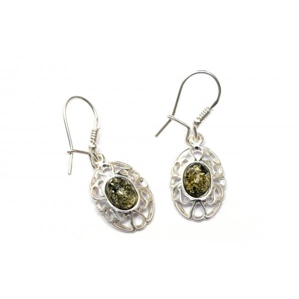 Boucles d'oreilles ambre vert et argent 925