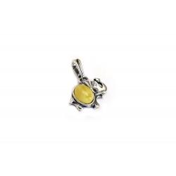 Pendentif ambre blanc et argent 925 en forme d'éléphant