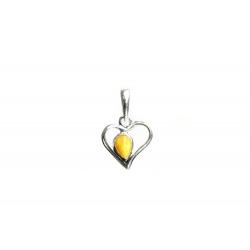 Pendentif ambre blanc et argent 925 en forme de coeur