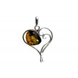 Pendentif ambre vert et argent 925 en forme de coeur