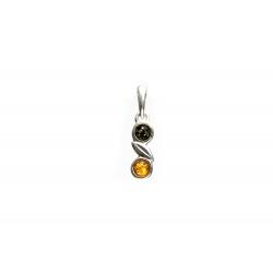 Pendentif ambre bicolore et argent 925