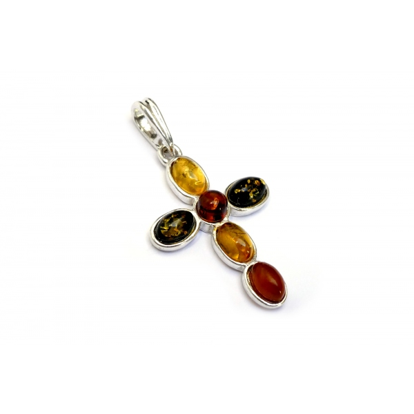 Pendentif ambre multicolore et argent 925 en forme de croix